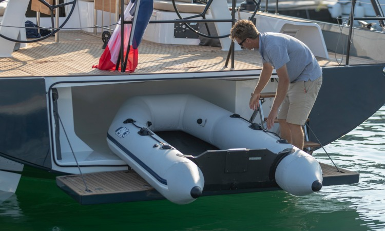 Beneteau First Yacht transom tender garage