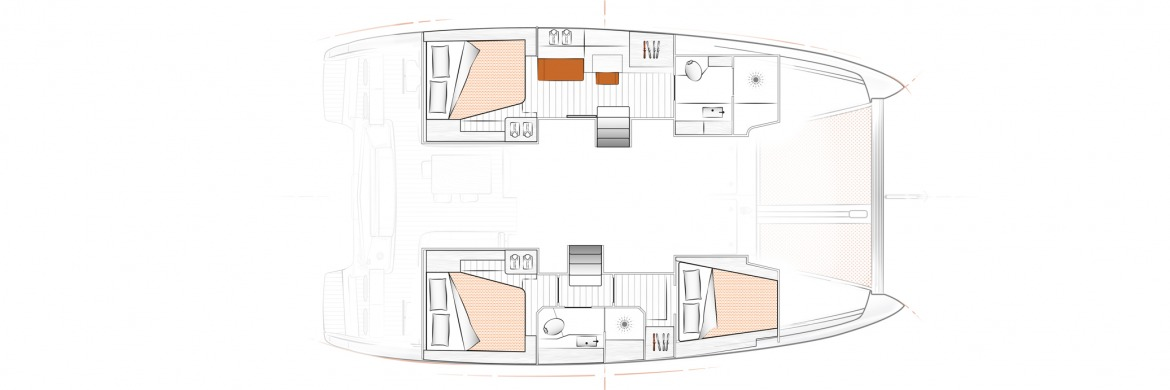 Excess 12 Catamaran 3 cabin owners layout