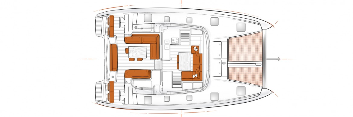 Excess 12 Catamaran layout saloon