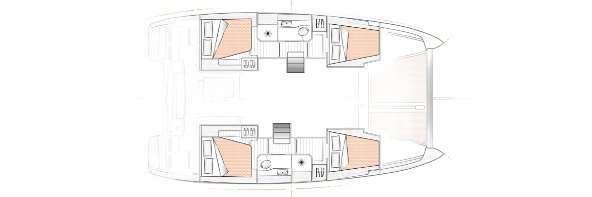 Excess 12 Catamran Layout 4 cabin 2 heads