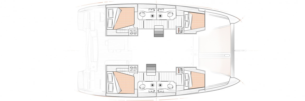Excess 12 Catamran Layout 4 cabin 4 head