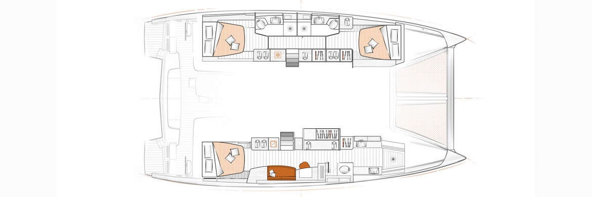 Excess 15 Catamaran 3 cabin owners layout