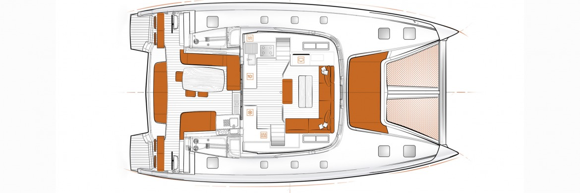 Excess 15 Catamaran 3 saloon layout
