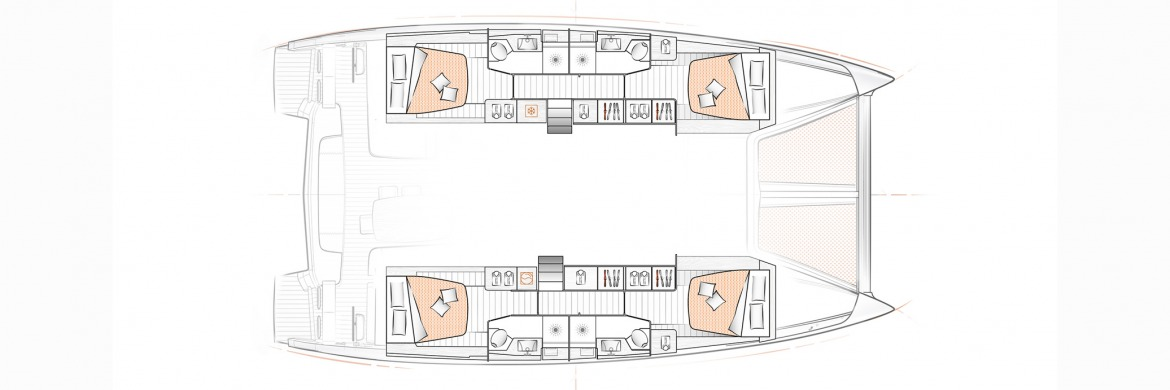 Excess 15 Catamaran 4 cabin layout