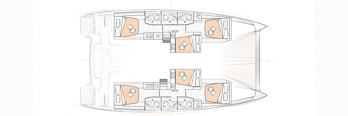 Excess 15 Catamaran 6 cabin layout
