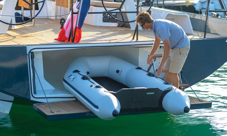 beneteau First 53 yacht test tender garage credit Gilles Martin Raget